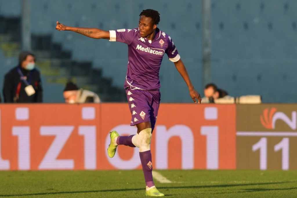 Fiorentina's Kouame celebrates after scoring his team's first goal during the Italian Cup round of 16 soccer match between Fiorentina and Inter Milan,...