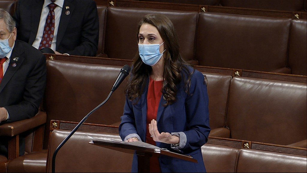 FILE - In this Thursday, Jan. 7, 2021 file photo image taken from video, Rep. Jaime Herrera Beutler, R-Wash., speaks as the House debates the objectio...
