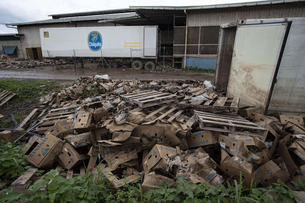 Waterlogged cardboard boxes and wooden pallets for packing bananas lay discarded on the ground next to a banana packing plant severely damaged by last...