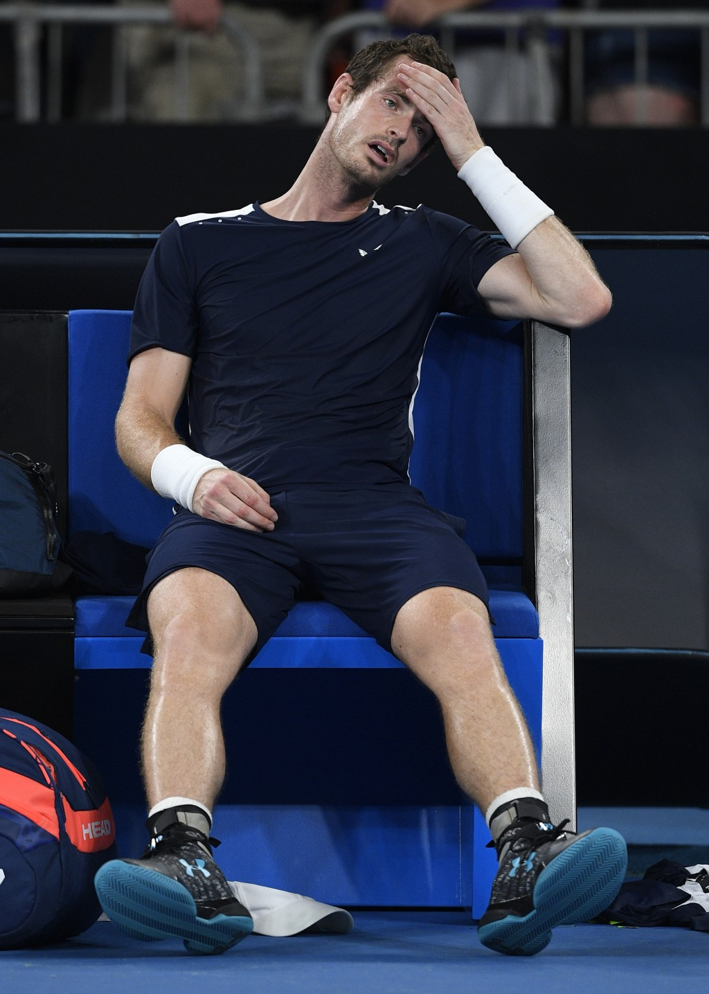 FILE - In this Monday, Jan. 14, 2019 file photo Britain's Andy Murray reacts after his first round loss to Spain's Roberto Bautista Agut at the Austra...