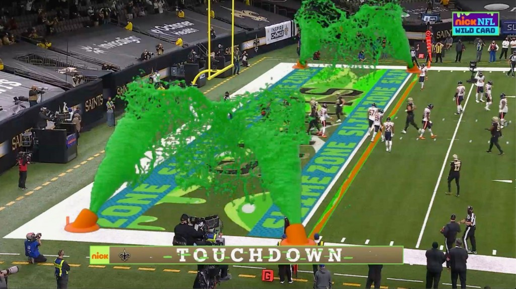 Virtual slime cannons go off in the end zone after a touchdown during Nickelodeon's kid-focused broadcast of the NFL wild-card playoff game between th...