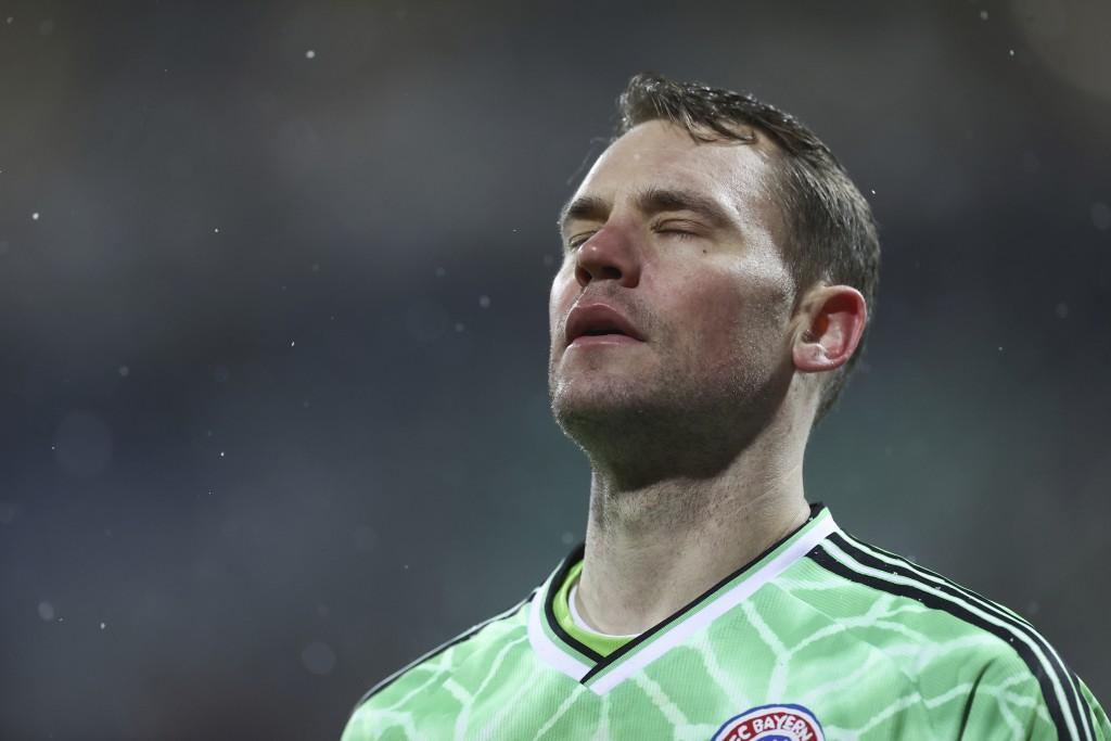 Munich's goalkeeper Manuel Neuer reacts during the DFB Cup 2nd round match between Holstein Kiel and Bayern Munich at the Holstein Stadium in Kiel, Ge...
