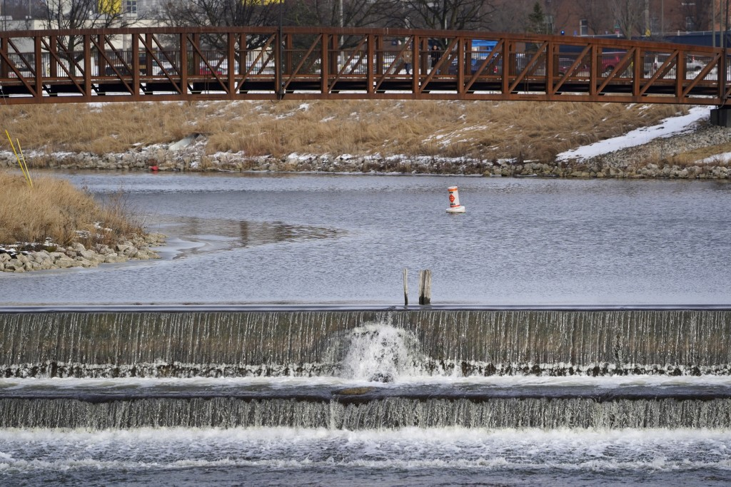 A section of the Flint River is shown in Flint, Mich., Wednesday, Jan. 13, 2021.   Some Flint residents impacted by months of lead-tainted water are l...