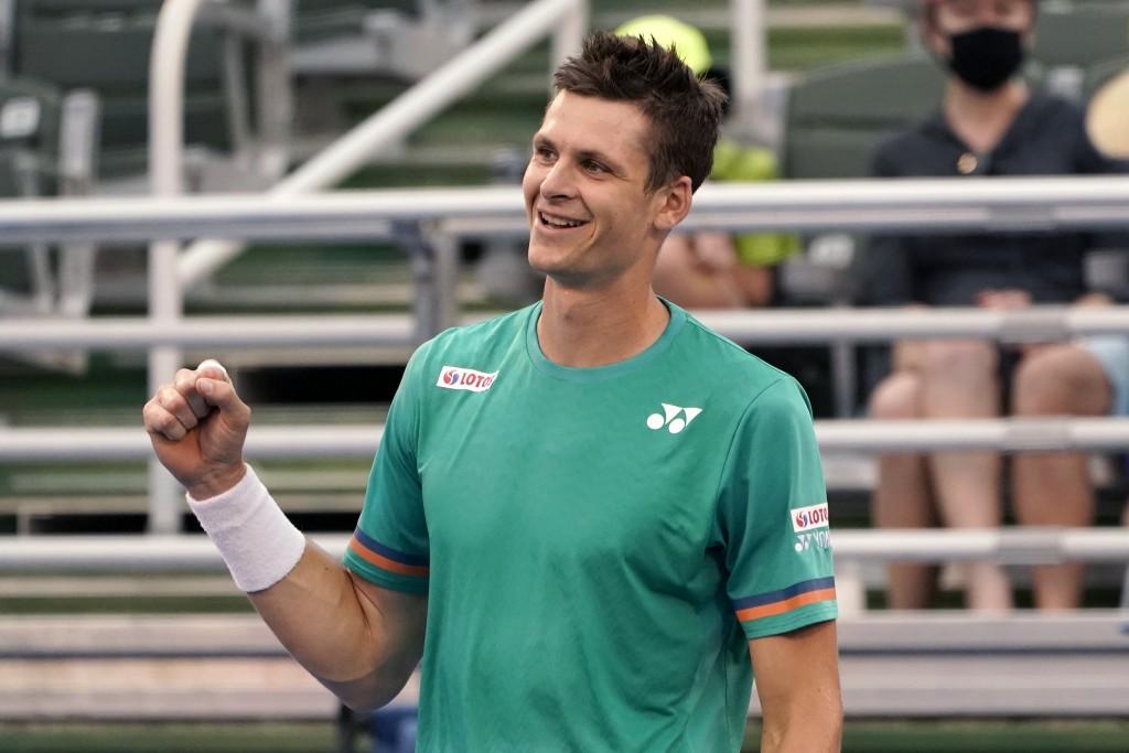 Hubert Hurkacz of Poland, reacts after defeating Sebastian Korda 6-3, 6-3 during the men's singles final of the Delray Beach Open tennis tournament, W...