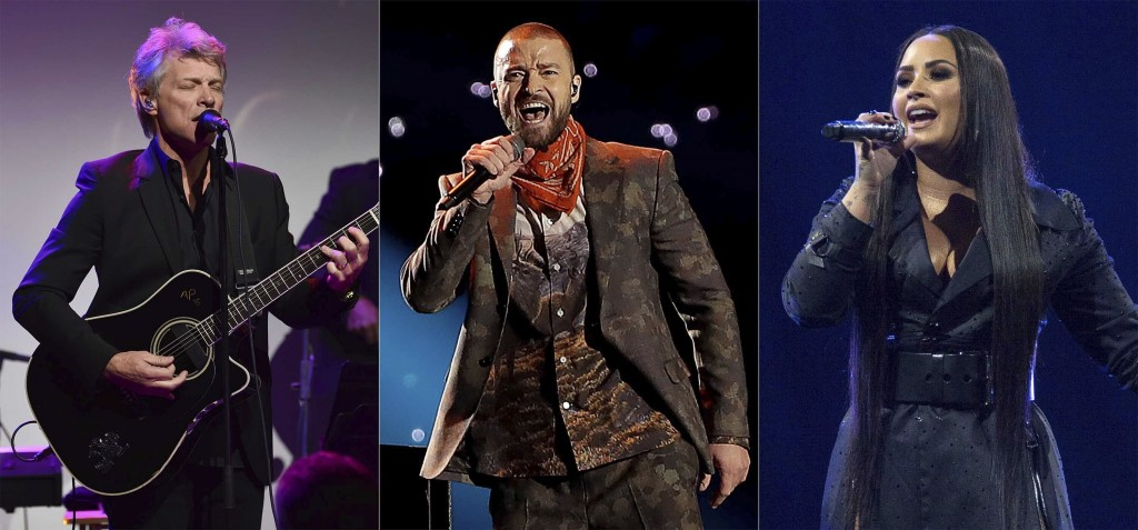 This combination photo shows musician Jon Bon Jovi performing at the Samsung Charity Gala in New York, Nov. 2, 2017, from left, Justin Timberlake perf...