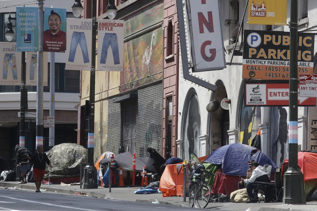 FILE - In this April 18, 2020, file photo, tents line a sidewalk on Golden Gate Avenue in San Francisco. A coalition in California is proposing legisl...