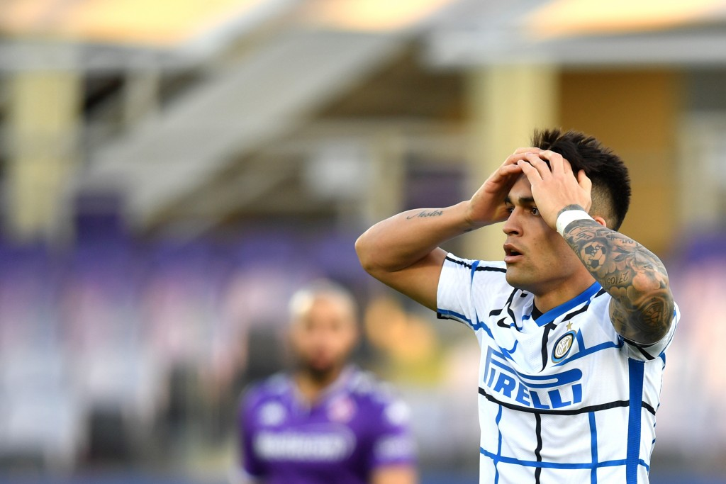 Inter's Lautaro Martinez reacts during the Italian Cup round of 16 soccer match between Fiorentina and Inter Milan, at the Artemio Franchi stadium in ...