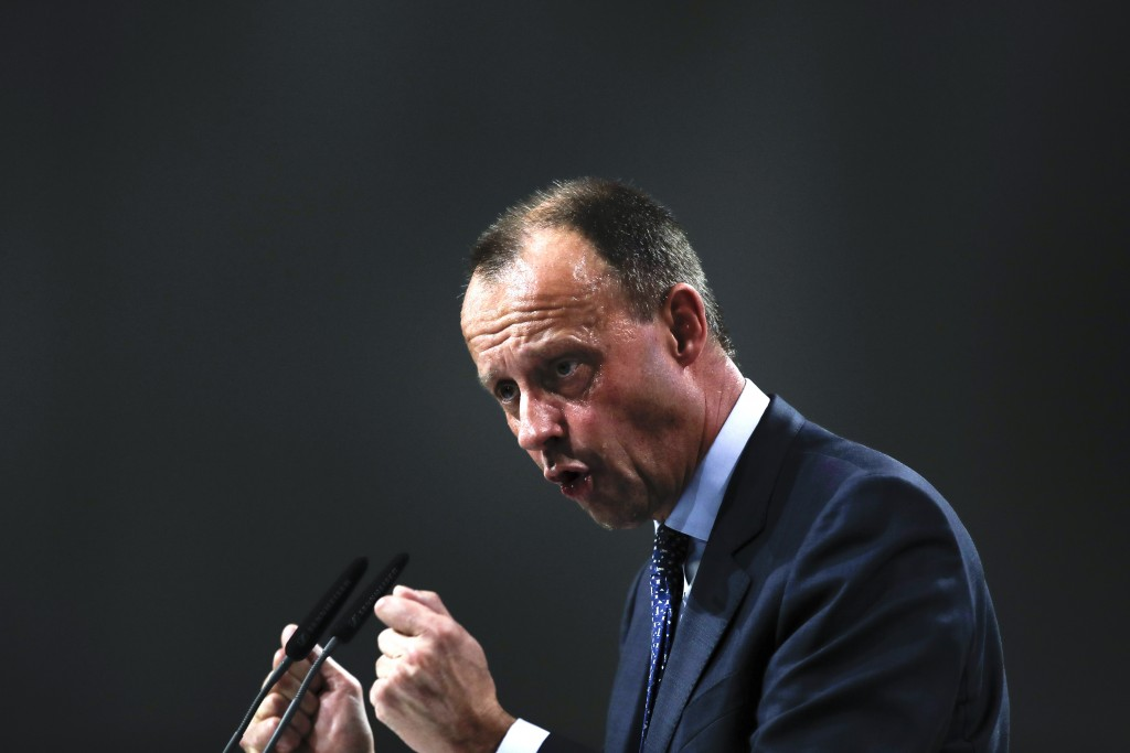 FILE - In this Friday, Dec. 7, 2018. File photo, Friedrich Merz party member and candidate for the Christian Democratic Union, CDU, party chairmanship...