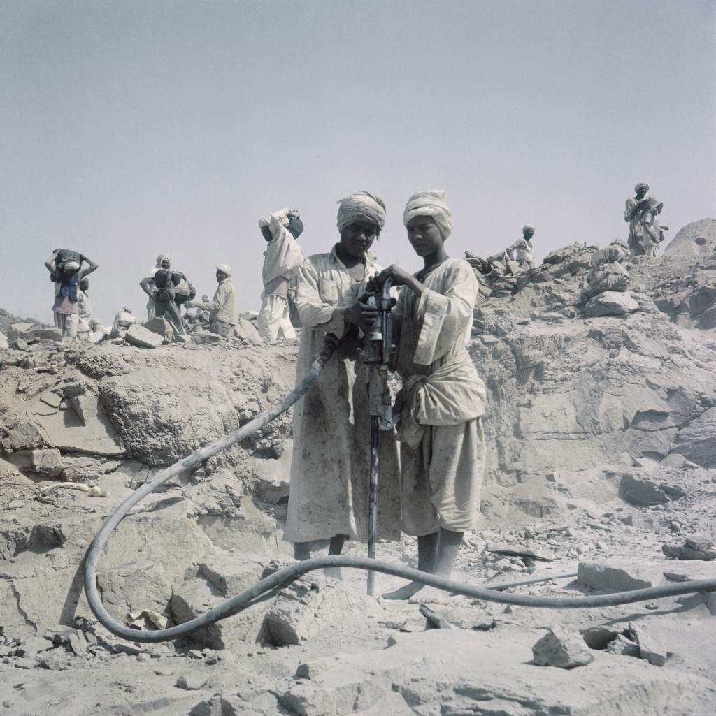 FILE - In this April 1964 file photo, Workers are shown during construction of the Aswan High Dam over the river Nile in Egypt. Egyptians are marking ...