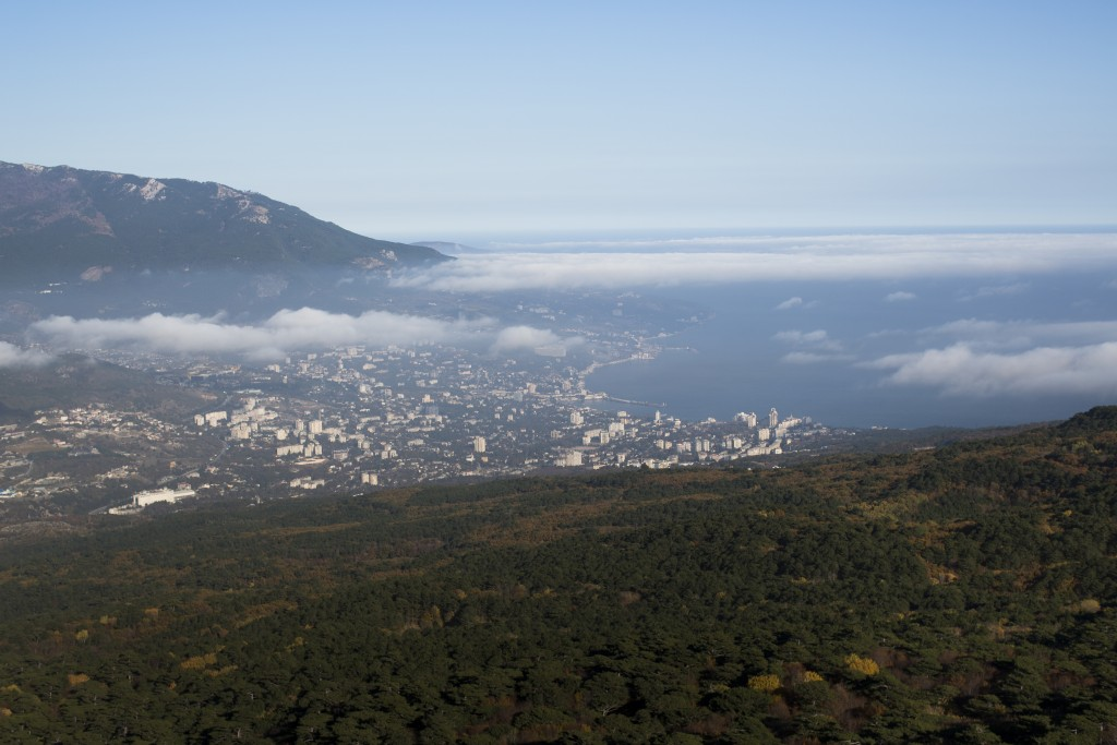 FILE In this file photo taken on Thursday, Nov. 20, 2014, a view of Yalta from the Ai-Petri is a peak in the Crimean Mountains. The European Court of ...