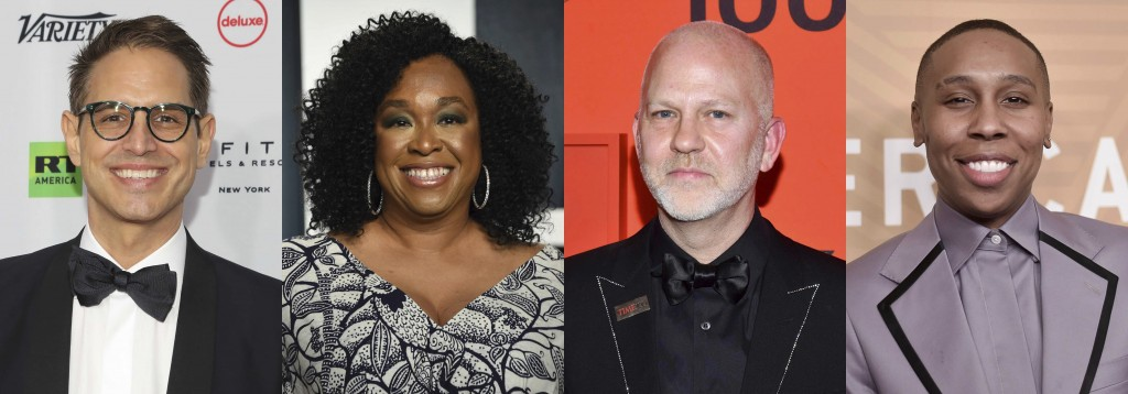 This combination of photos shows show writers and creators, from left, Greg Berlanti, Shonda Rhimes, Ryan Murphy and Lena Waithe who were named in a s...
