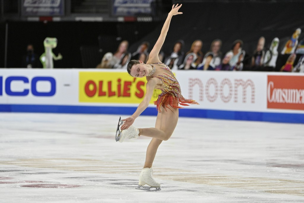 FILE - Mariah Bell of the United States competes during the women's short program of the International Skating Union Grand Prix of Figure Skating Seri...