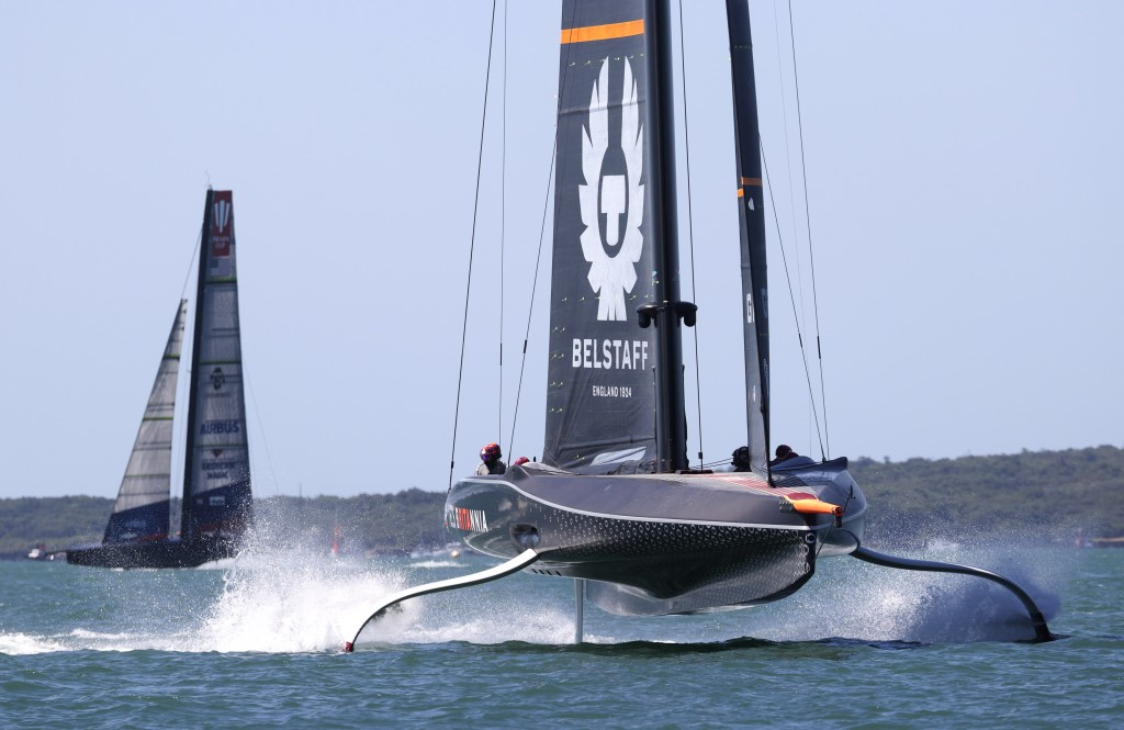 Ineos Team UK, right, leads American Magic during the Prada Cup challengers series on Auckland's Waitemate Harbour, New Zealand, Friday, Jan. 15, 2021...