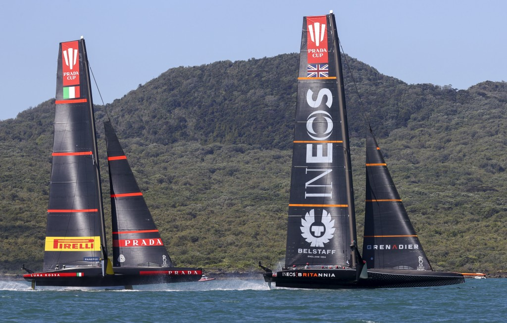 Ineos Team UK, right, leads Italy's Luna Rossa during the Prada Cup challengers series on Auckland's Waitemate Harbour, New Zealand, Friday, Jan. 15, ...