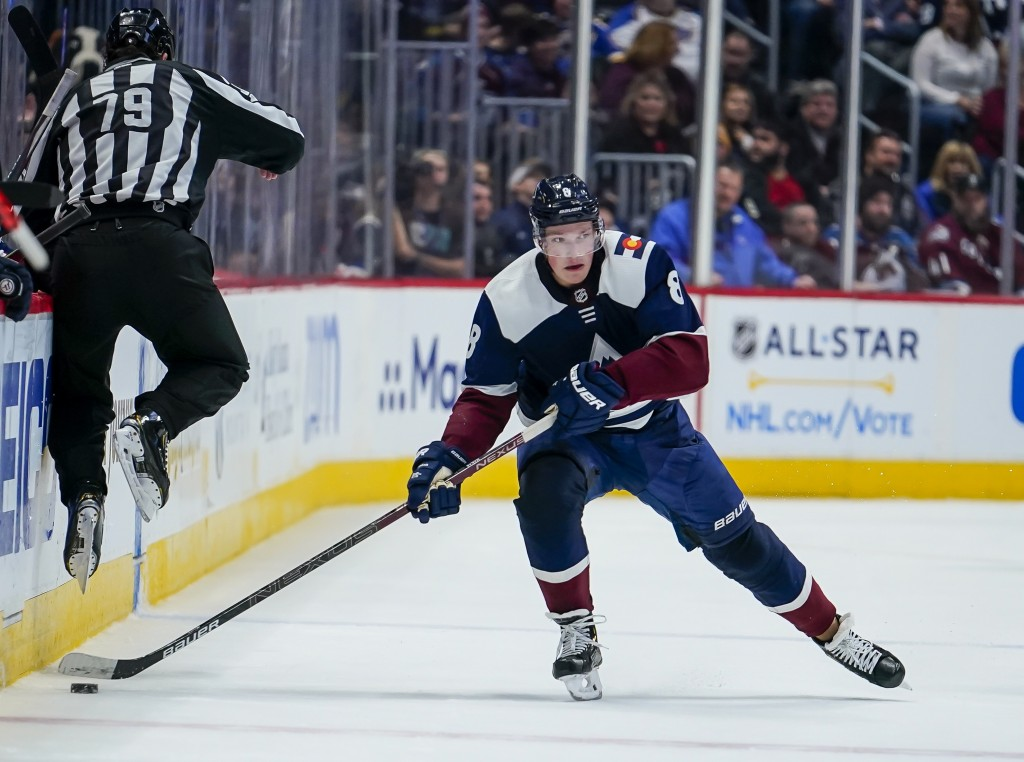 FILE - In this Thursday, Jan. 2, 2020, file photo Colorado Avalanche defenseman Cale Makar skates against the St. Louis Blues during the third period ...