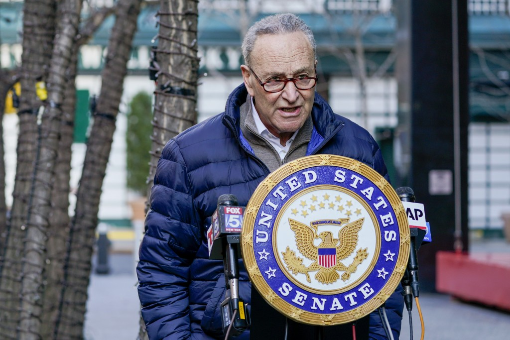 In this Jan. 12, 2021, photo, Senate Minority Leader Chuck Schumer, D-N.Y., speaks to reporters during a news conference in New York. (AP Photo/Mary A...