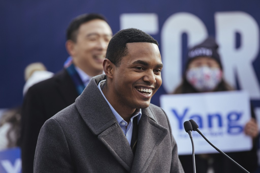 Newly-elected member of Congress Ritchie Torres announces that he is endorsing mayoral candidate Andrew Yang during a press conference in Morningside ...