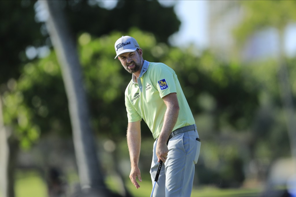 Webb Simpson reacts after missing a putt on the 12th green during the first round of the Sony Open golf tournament Thursday, Jan. 14, 2021, at Waialae...