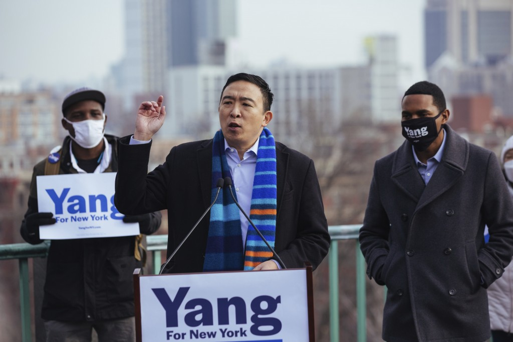 Andrew Yang announces his run for New York Mayor during a press conference in Morningside Park on Thursday, Jan. 14, 2021, in New York. (AP Photo/Kevi...