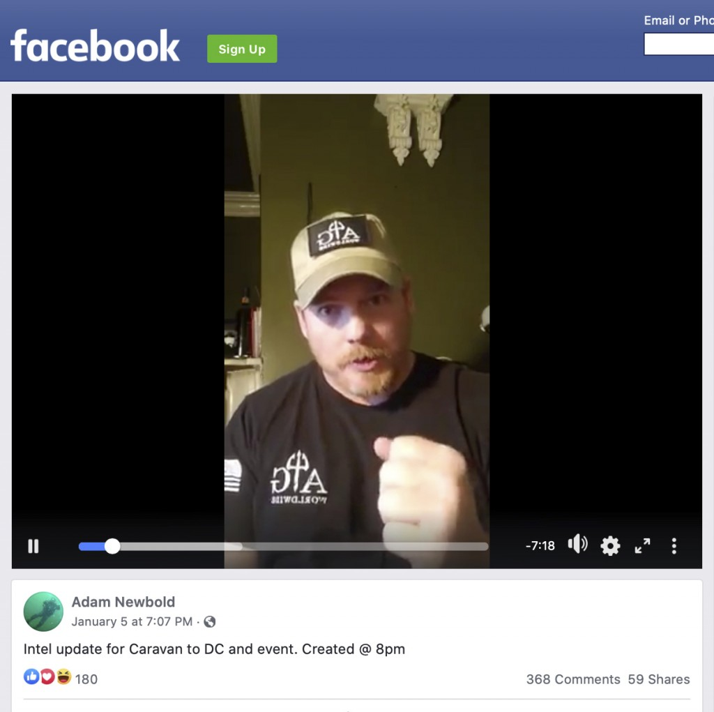 This image shows a video by Adam Newbold posted on Facebook on Tuesday, Jan. 5, 2021. The retired U.S. Navy SEAL said he was not going to Washington, ...
