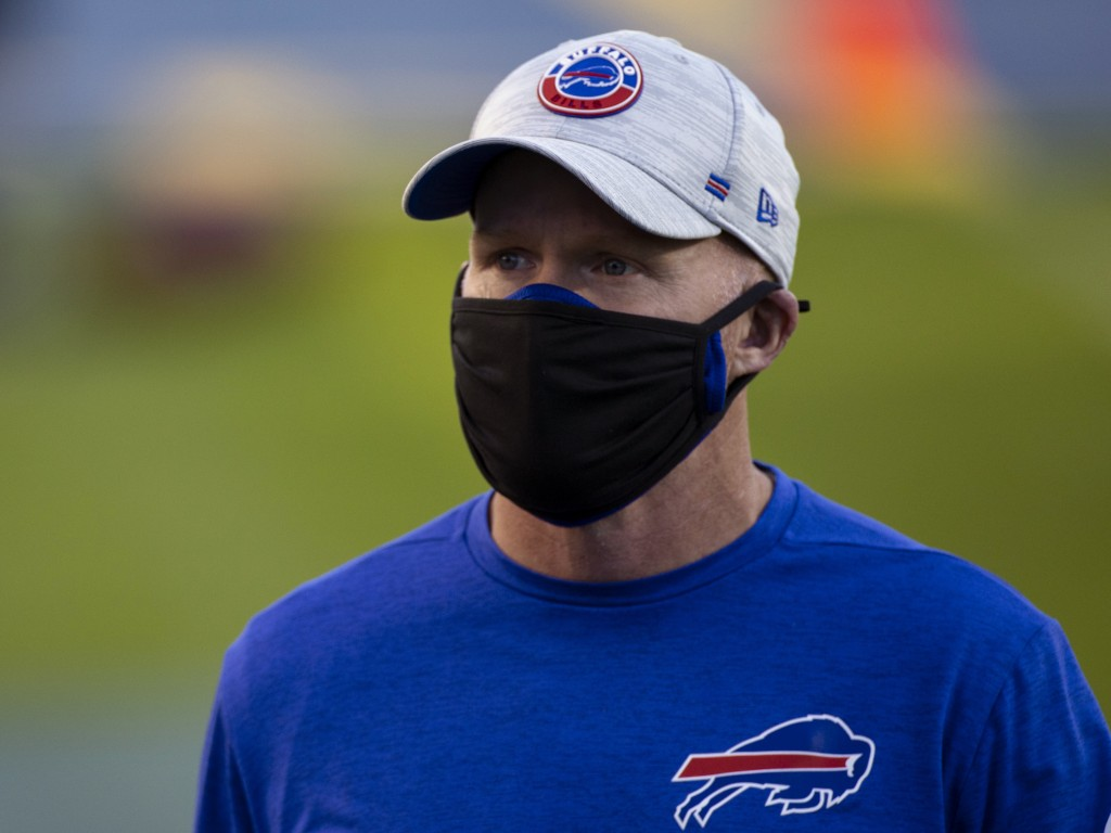FILE - Buffalo Bills head coach Sean McDermott walks off the field before an NFL football game against the Tennessee Titans in Nashville, Tenn., in th...