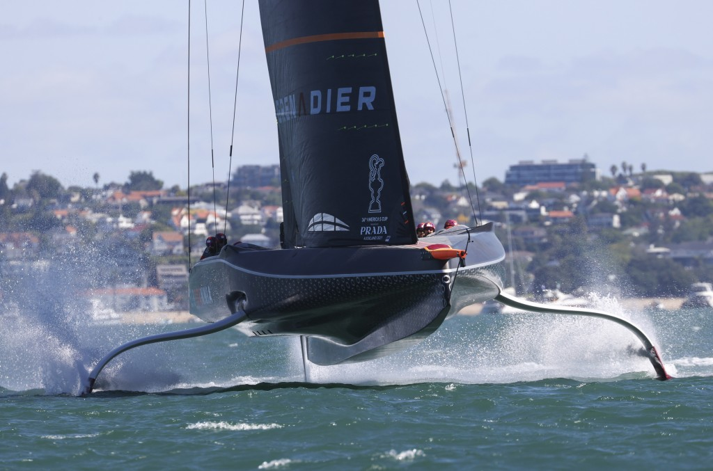Ineos Team UK races Italy's Luna Rossa during the Prada Cup challengers series on Auckland's Waitemate Harbour, New Zealand, Friday, Jan. 15, 2021. Th...