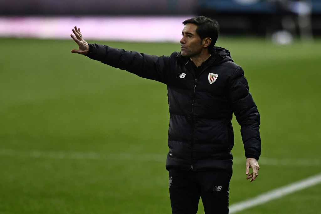 Athletic Bilbao's head coach Marcelino gives instructions from the side line during Spanish Super Cup semi final soccer match between Real Madrid and ...