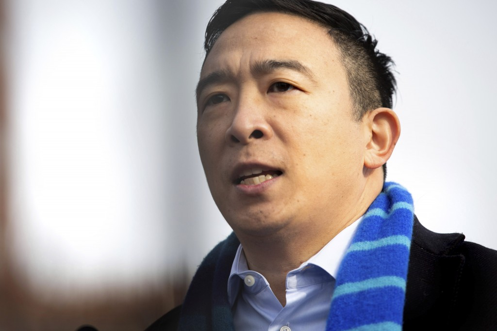 Andrew Yang announces his run for New York Mayor during a news conference in Morningside Park on Thursday, Jan. 14, 2021, in New York. (AP Photo/Kevin...