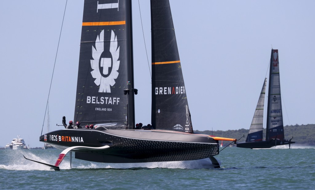 Ineos Team UK, left, leads American Magic during the Prada Cup challengers series on Auckland's Waitemate Harbour, New Zealand, Friday, Jan. 15, 2021....