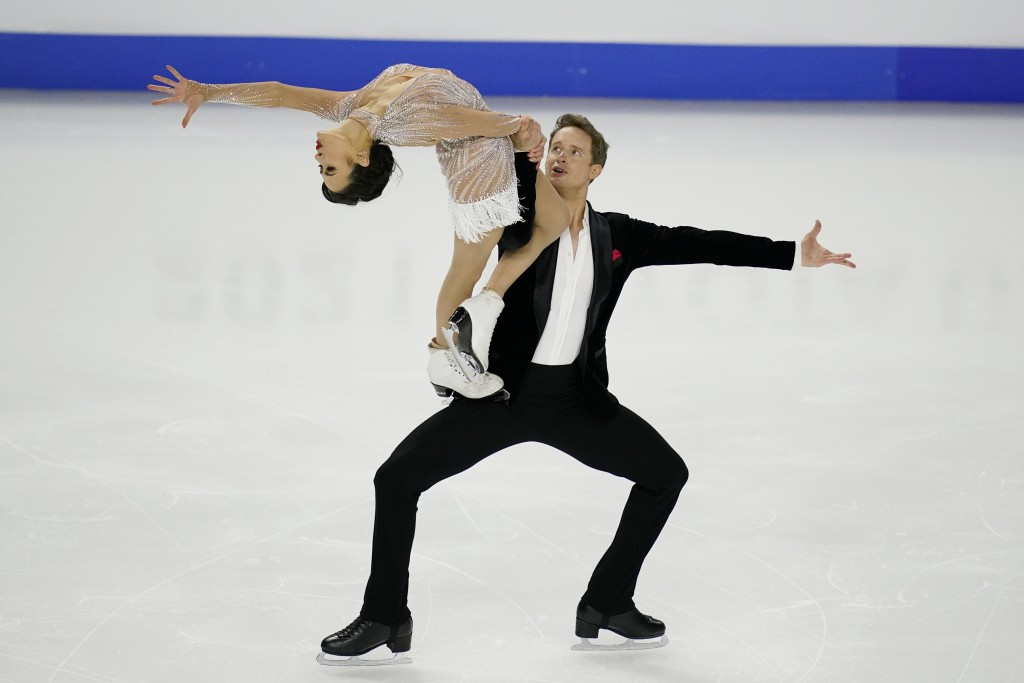 Madison Chock and Evan Bates perform during the rhythm dance program at the U.S. Figure Skating Championships, Friday, Jan. 15, 2021, in Las Vegas. (A...