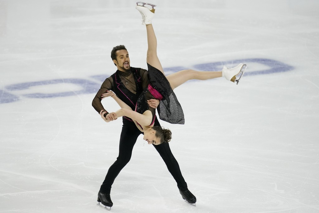 Molly Cesanek and Yehor Yehorov perform during the rhythm dance program at the U.S. Figure Skating Championships, Friday, Jan. 15, 2021, in Las Vegas....