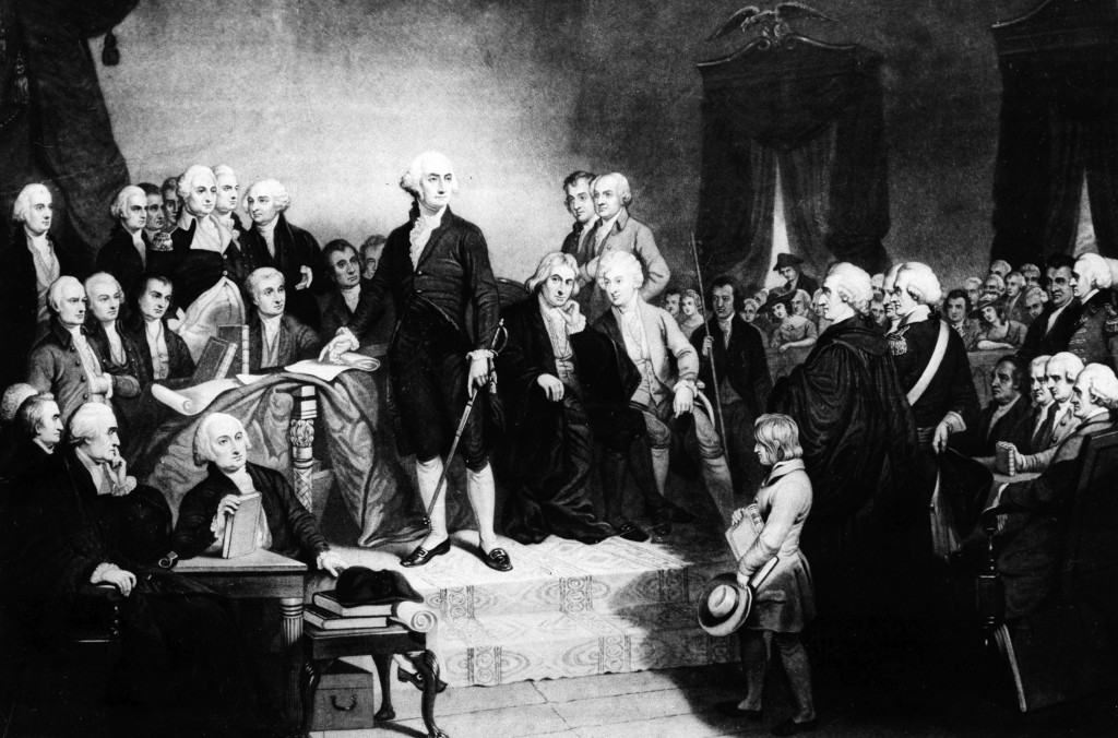 FILE - This images shows a depiction of President George Washington delivering his inaugural address in the Senate Chamber of Old Federal Hall in New ...