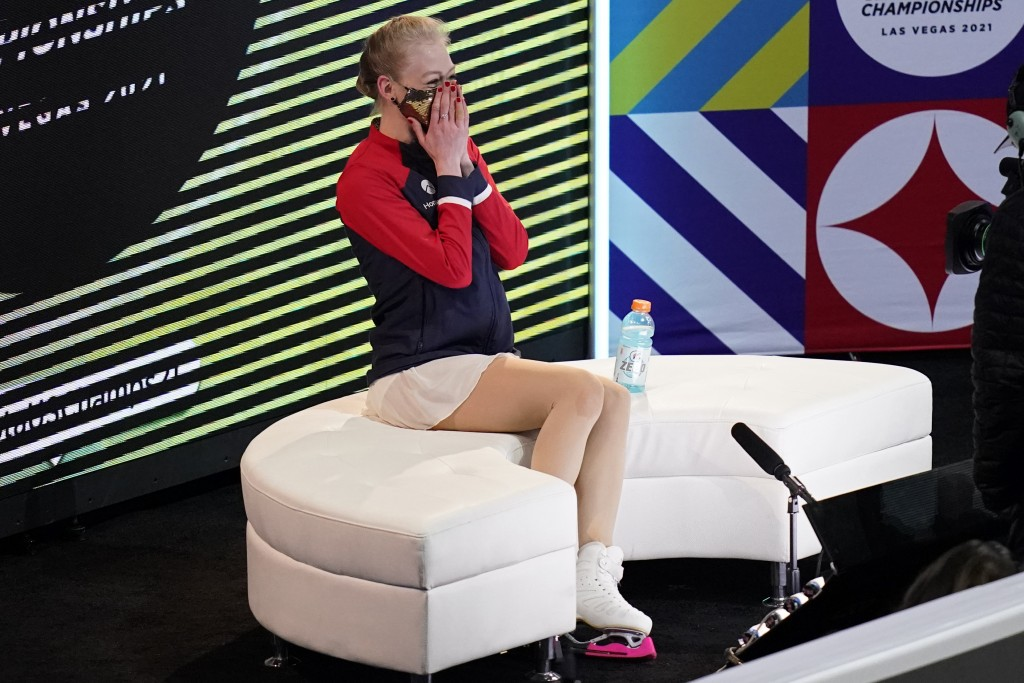 Bradie Tennell reacts as she hears her scores from the women's free skate at the U.S. Figure Skating Championships, Friday, Jan. 15, 2021, in Las Vega...