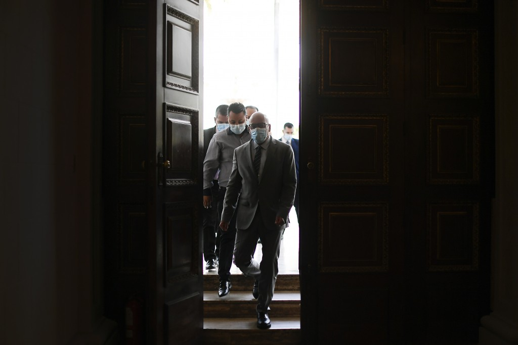 National Assembly President Jorge Rodriguez arrives for an interview at Congress in Caracas, Venezuela, Friday, Jan. 15, 2021. Rodriguez said he's hop...