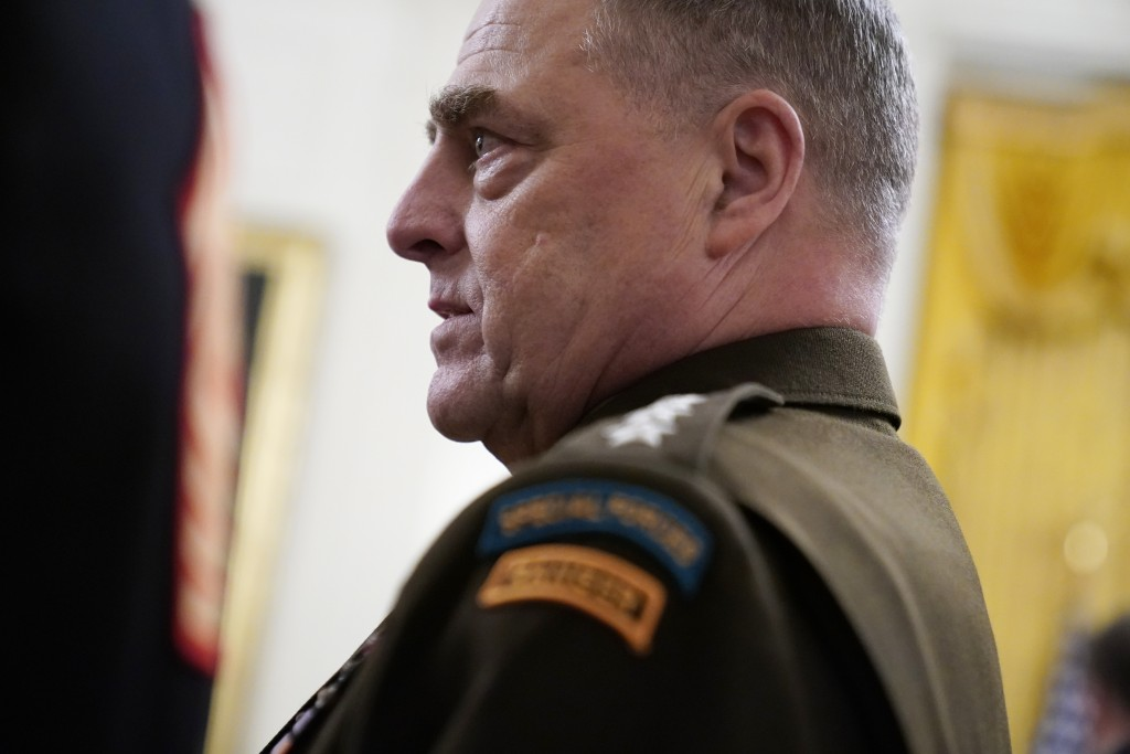 FILE - In this Sept. 11, 2020, file photo Chairman of the Joint Chiefs of Staff Gen. Mark Milley arrives for the presentation of the Medal of Honor to...