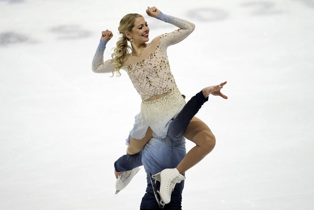 Alexa Knierim and Brandon Frazier perform during the pairs free skate at the U.S. Figure Skating Championships, Saturday, Jan. 16, 2021, in Las Vegas....