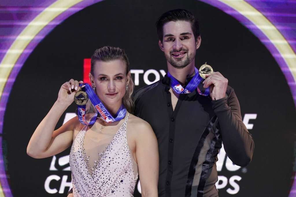 First place finishers Madison Hubbell and Zachary Donohue pose with their medals in the championship ice dance at the U.S. Figure Skating Championship...