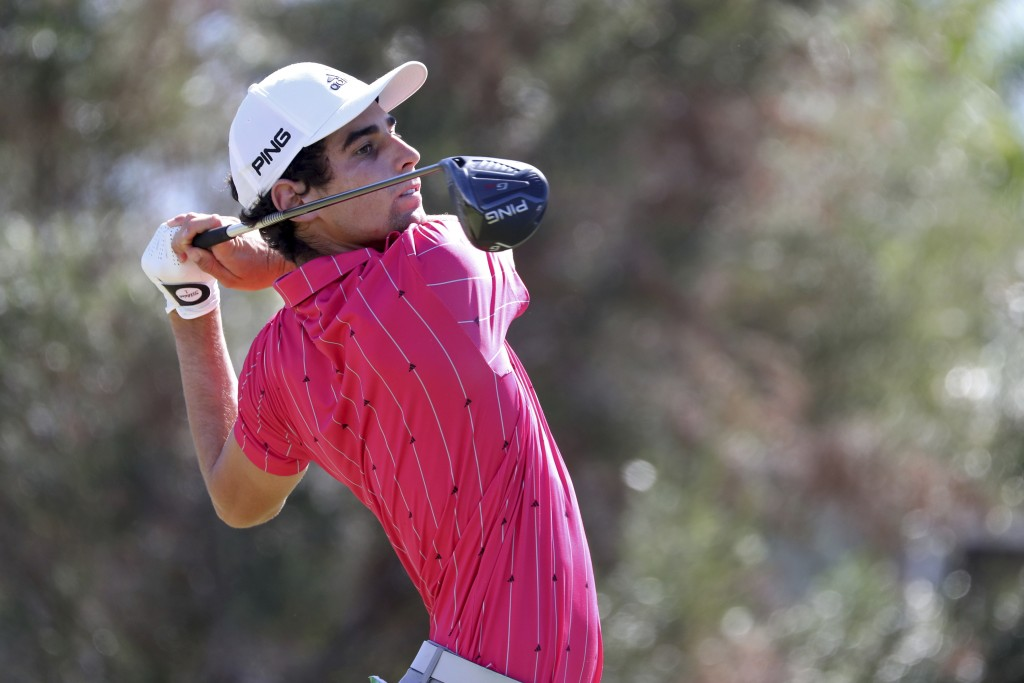 Joaquin Niemann, of Chile, drives off the first tee during the third round at the Sony Open golf tournament Saturday, Jan. 16, 2021, in Honolulu. (AP ...