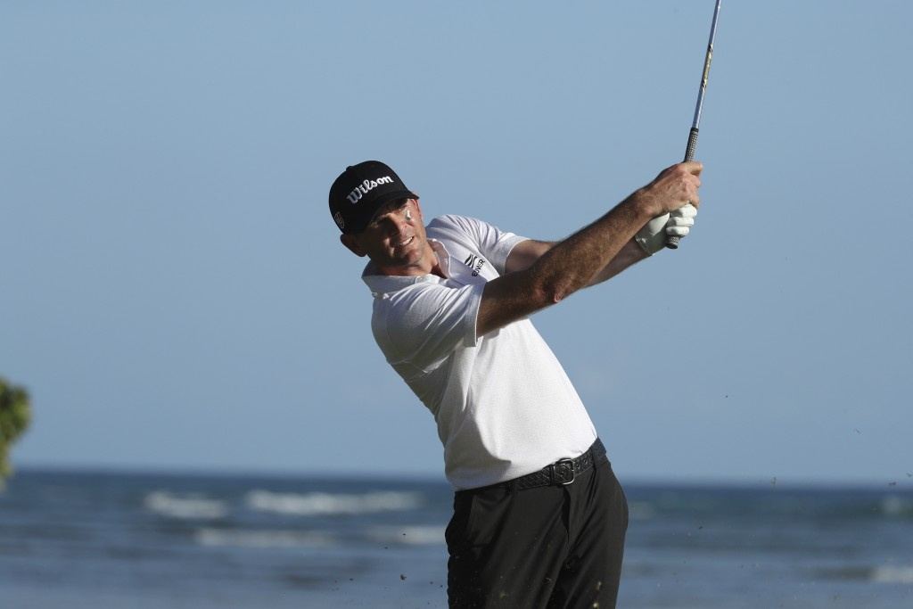 Brendan Steele follows his drive off the 17th tee during the third round at the Sony Open golf tournament Saturday, Jan. 16, 2021, in Honolulu. (AP Ph...