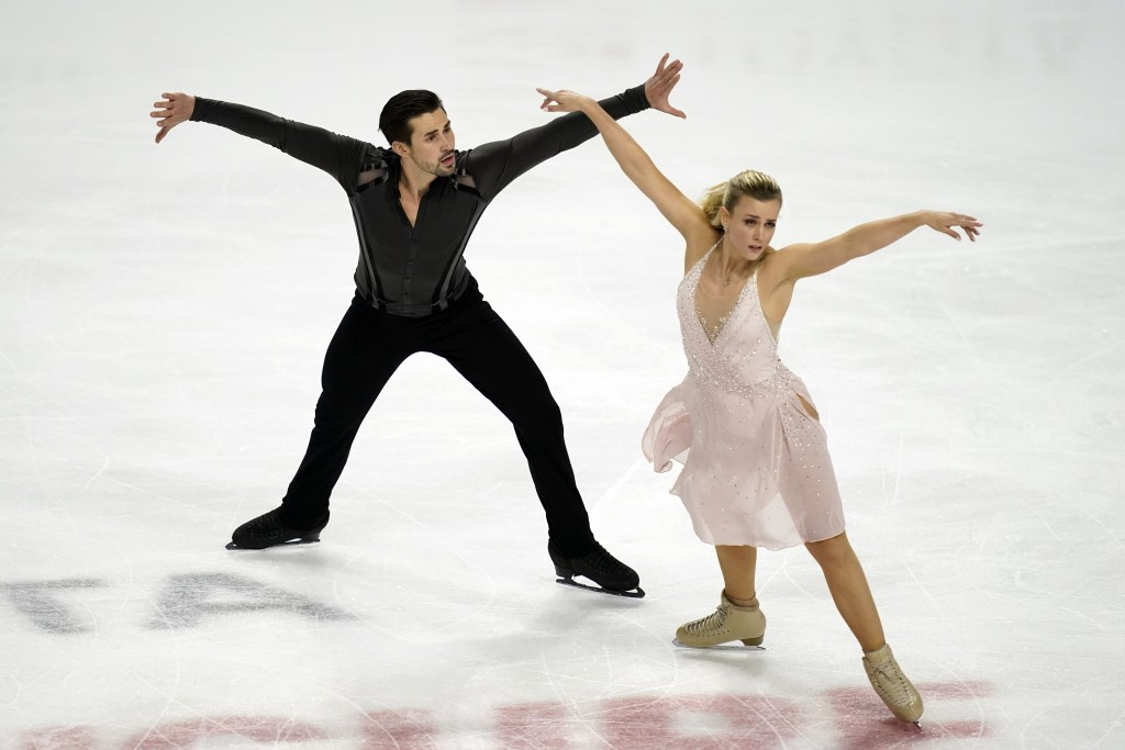 Madison Hubbell and Zachary Donohue perform during the free dance at the U.S. Figure Skating Championships, Saturday, Jan. 16, 2021, in Las Vegas. (AP...