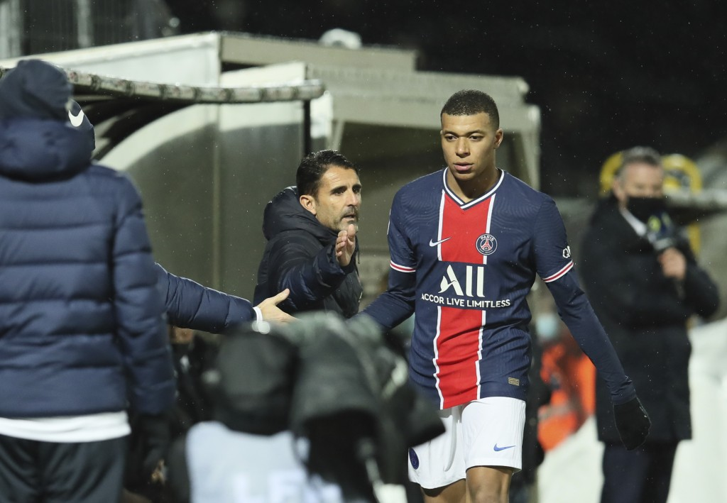 PSG's Kylian Mbappe leaves the field during the French League One soccer match between Angers and Paris Saint-Germain at Jean-Bouin stadium in Angers,...