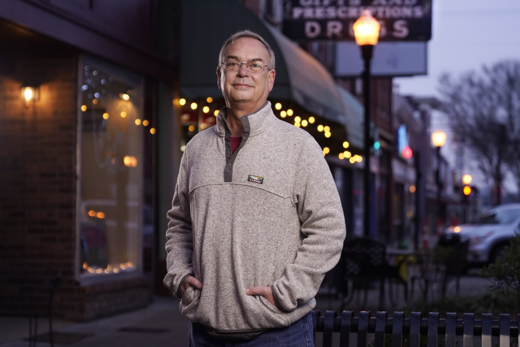 Cole Shepherd poses on the town square in Gallatin, Tenn., Jan. 11, 2021. A centrist Democrat, he voted for Biden, thinking the former vice president ...