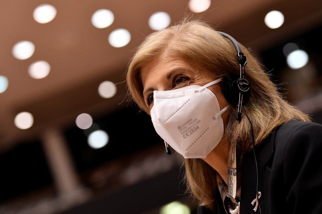 European Commissioner in charge of Health Stella Kyriakides arrives to he main chamber during a plenary session at the European Parliament in Brussels...