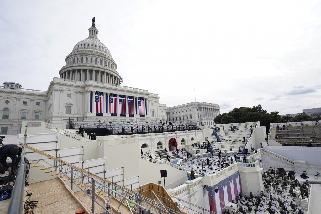 Preparations are made prior to a dress rehearsal for the 59th inaugural ceremony for President-elect Joe Biden and Vice President-elect Kamala Harris ...