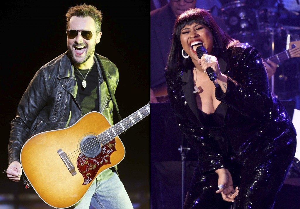 This combination photo shows Eric Church performing at the 2016 Stagecoach Festival in Indio, Calif., on April 29, 2016, left, and Jazmine Sullivan pe...