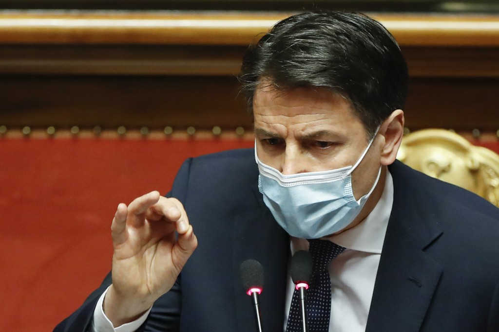 Italian Prime Minister Giuseppe Conte speaks during his final address at the Senate prior to a confidence vote, in Rome, Tuesday, Jan. 19, 2021. Itali...