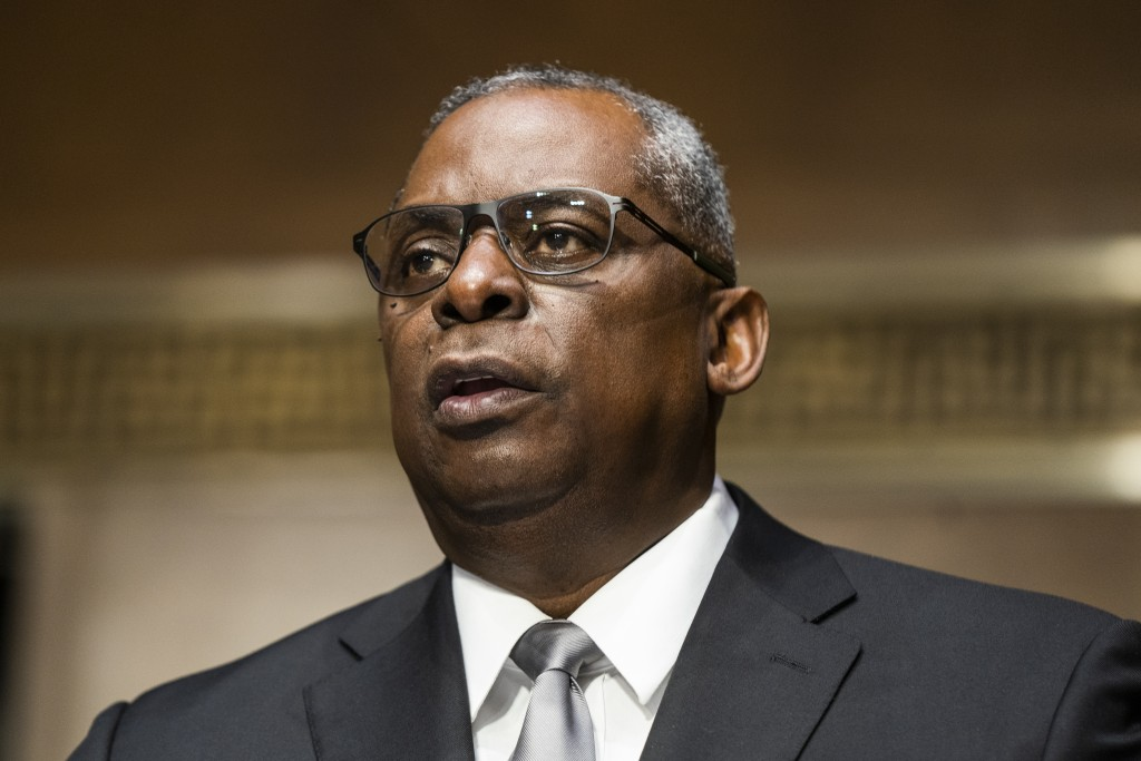 Secretary of Defense nominee Lloyd Austin, a recently retired Army general, speaks during his conformation hearing before the Senate Armed Services Co...