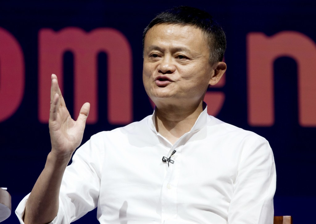 FILE - In this Oct. 12, 2018, file photo, Chairman of Alibaba Group Jack Ma speaks during a seminar in Bali, Indonesia. China's highest-profile entrep...