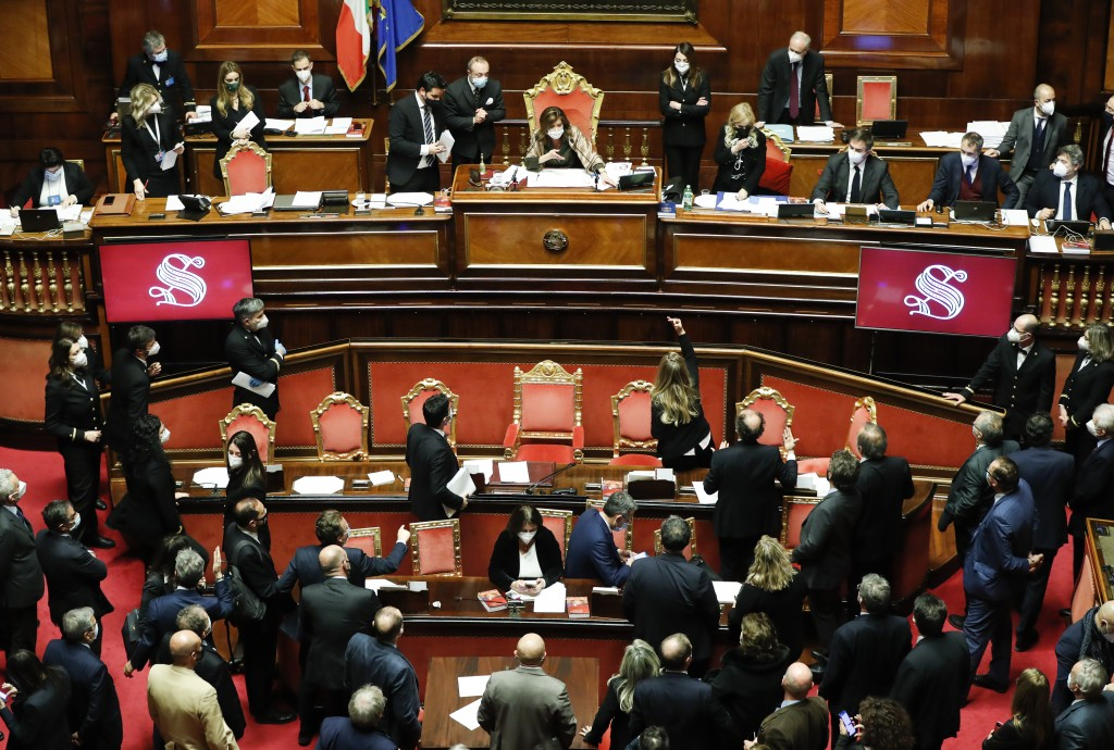 A general view of the upper house of parliament at the Senate after a confidence vote, in Rome, Tuesday, Jan. 19, 2021. Italian Premier Giuseppe Conte...