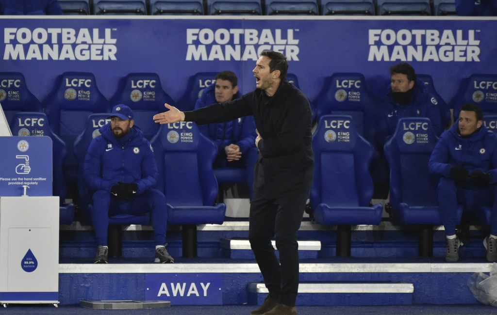 Chelsea's head coach Frank Lampard reacts during the English Premier League soccer match between Leicester City and Chelsea at the King Power Stadium ...